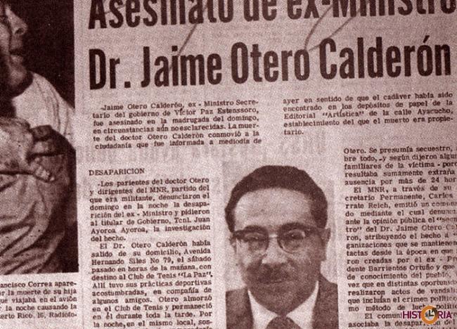Asesinato del ex ministro Dr. Otero Calderón - 1970