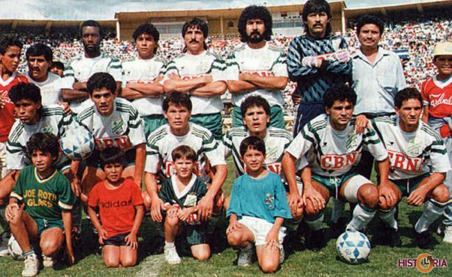 Equipo de Oriente Petrolero, en la final contra Bolivar de la Liga. Cochabamba, 1990.